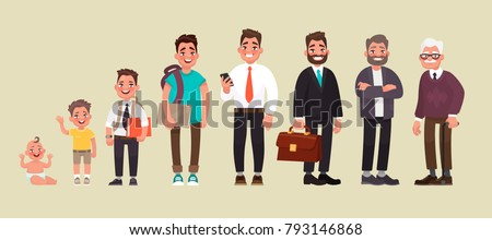 Character of a man in different ages. A baby, a child, a teenager, an adult, an elderly person. The life cycle. Generation of people and stages of growing up. Vector illustration in cartoon style Royalty-Free Stock Photo #793146868