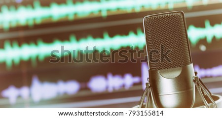 Studio microphone for recording podcasts close up