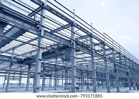 In the construction site, steel structure is under construction #793171885