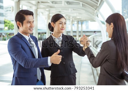 Teamwork of Asian business peoples  #793253341