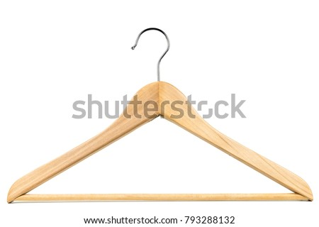 Wooden coat hanger / clothes hanger on a white background. Potential copy space above and inside hanger. #793288132