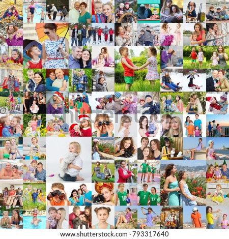Many happy familes pose together, children, kids, adults. collage with 45 models #793317640