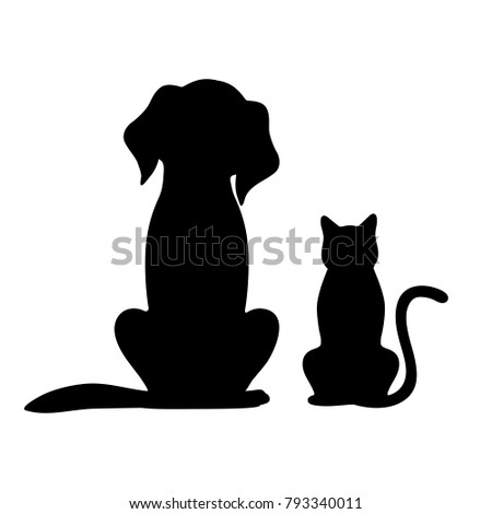 silhouette of dog and cat on white background