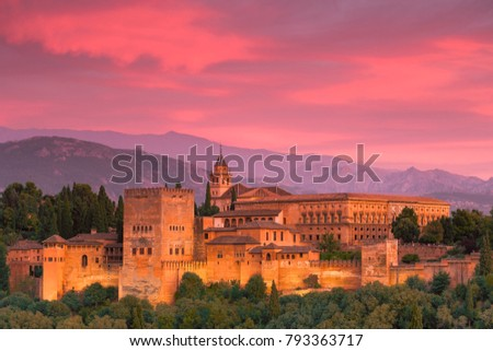 the beauty of the alhambra with the mountains of the sierra nevada in the background #793363717
