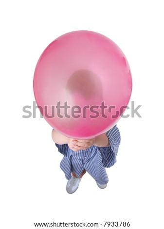 isolated boy holding balloon #7933786
