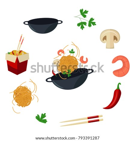 vector flat asian wok symbols set. Udon noodles in paper box, large royal shrimp, chili pepper, sticks, parsley, mushroom, pan. Stir fry eastern fastfood icons for menu design. Isolated illustration #793391287