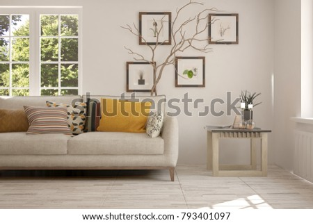 Idea of white room with sofa and summer landscape in window. Scandinavian interior design. 3D illustration #793401097