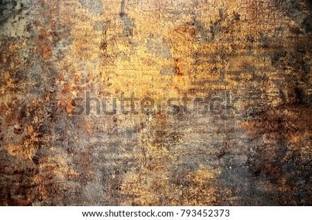 Rusty metallic steel plate Royalty-Free Stock Photo #793452373