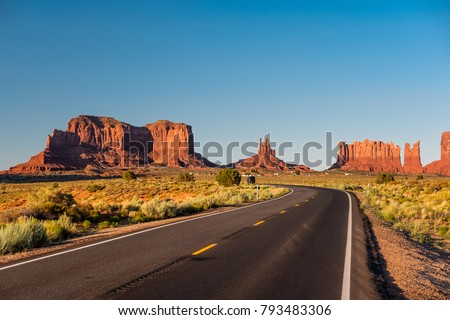 Empty scenic highway in Monument Valley, Arizona, USA Royalty-Free Stock Photo #793483306