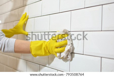 washing tiles after kitchen reconstruction #793508764