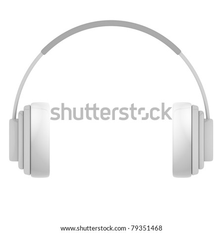 Plastic Headphones isolated on white - 3d illustration #79351468