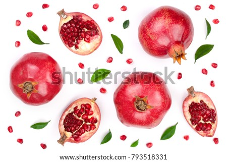 pomegranate with leaves isolated on white background. Top view. Flat lay pattern #793518331