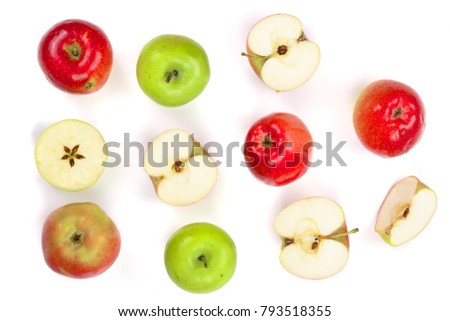 red and green apples with slices isolated on white background top view. Flat lay pattern #793518355