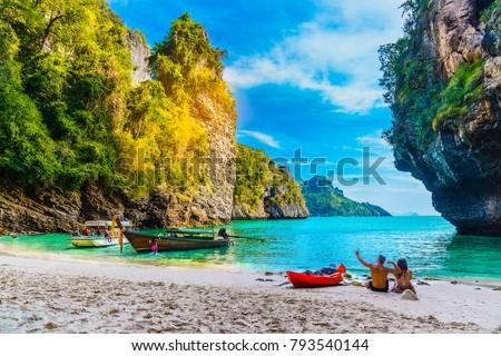 Landscape of natural sea beach on small island, Activity happy couple traveler, Poda island, Andaman sea, Krabi, Travel Thailand, Beautiful destination place Asia, Summer holiday outdoor vacation trip #793540144