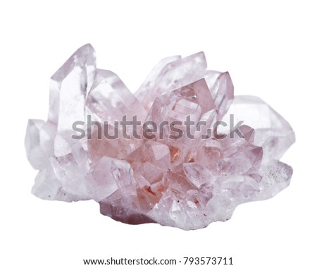 Himalayan clear quartz cluster with hematite inclusions isolated on white background #793573711