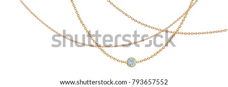 Gold necklace with diamond. Platinum chain with gem. Luxury brilliant jewelry pendant or coulomb on transparent background isolated illustration for ads, flyers, web site sale elements design #793657552