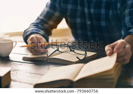 Student is studying at home. Self-education concept #793660756