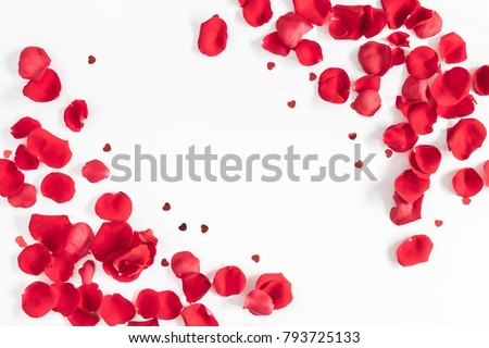 Flowers composition. Frame made of rose flowers, confetti on white background. Valentines day background. Flat lay, top view, copy space. #793725133