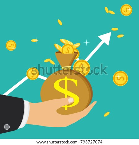 Flat icon, vector illustration. Money saving and money bag concept. Money making. Bank deposit. Financials. Isolated on a background. #793727074