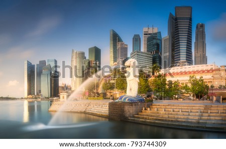 View of business district and Marina bay skyline at sunrise in Singapore Royalty-Free Stock Photo #793744309
