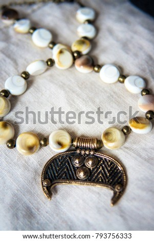 Lunula - traditional copper necklace with semi precious stones. It is the pagan symbol of moon and femininity. Amulet worn by Slavic or Viking women in the pre-christian ages, that brings good luck. #793756333