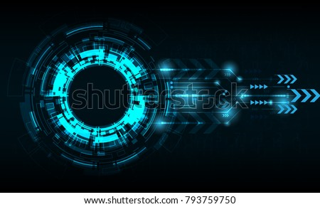 Vector tech circle with various technological. #793759750