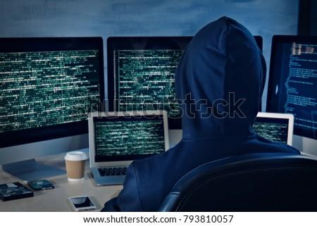 Man in hoodie hacking server at table #793810057