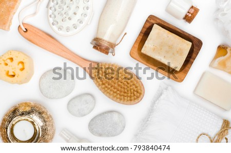 Various spa and body care products isolated on white background Royalty-Free Stock Photo #793840474