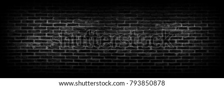 Old brick wall background in black Or black wall surface using a large number of bricks. Put together beautifully the background. #793850878
