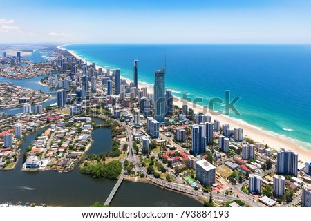 Sunny aerial view of Surfers Paradise on the Gold Coast, Queensland, Australia #793884193