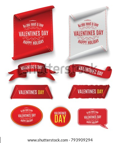 Valentine's Day. Beautiful red scrolling. A set of banners. Twisted paper. For advertising. Striped, gold and red ribbon on white background for congratulations for February.  #793909294