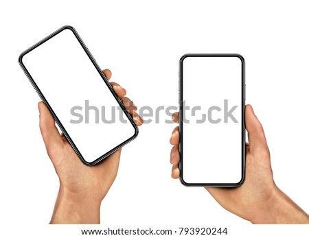 Man hand holding the black smartphone with blank screen and modern frame less design - isolated on white background #793920244