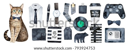 Man presents set. Decor elements for birthday card or other holiday event, male gift ideas guide. Wrapped boxes, men's clothes and stuff. Black and white stripes style. Hand drawn art items, cut out.
