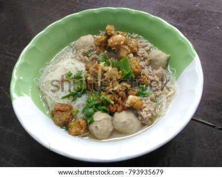Rice noodle water Meatballs #793935679