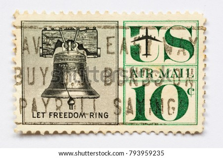 United States of America - CIRCA 1960 - Vintage 10c airmail stamp shows the Liberty Bell and the quote Let Freedom Ring #793959235