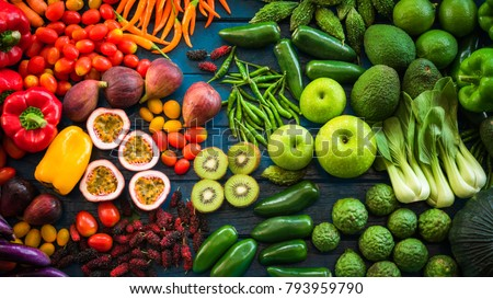 Flat lay of fresh  fruits and vegetables for background, Different fruits and vegetables for eating healthy, Colorful fruits and vegetables on blue plank background #793959790