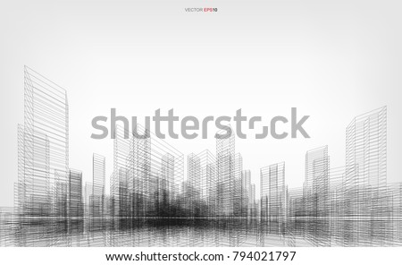 Perspective 3D render of building wireframe. Vector wireframe city background of building. Royalty-Free Stock Photo #794021797