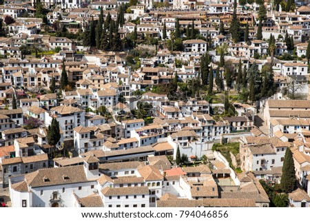 Granada,  Spain old town cityscape at the Alhambra #794046856