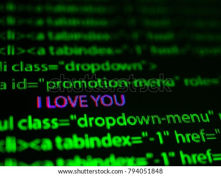 words I love You on computer screen
