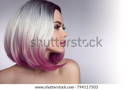 Ombre bob short hairstyle. Beautiful hair coloring woman. Trendy haircuts. Blond model with short shiny hairstyle. Concept Coloring Hair. Beauty Salon.  #794117503
