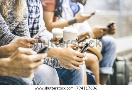 Multicultural friends group using smartphone with coffee at university college break - People hands addicted by mobile smart phone - Technology concept with connected trendy millennials - Filter image #794117806