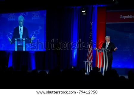 NEW ORLEANS, LA - JUNE 16: Presidential candidate Newt Gingrich addresses the Republican Leadership Conference on June 16, 2011 at the Hilton Riverside New Orleans in New Orleans, LA. #79412950