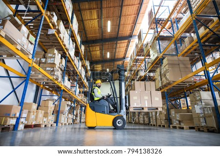 Warehouse man worker with forklift. #794138326