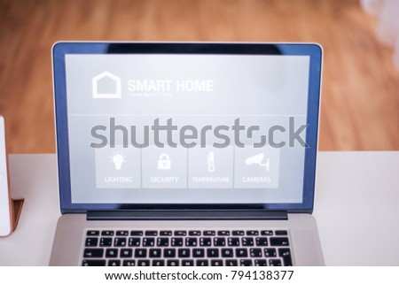 A laptop with smart home screen. #794138377