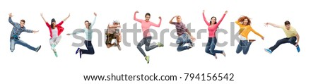 sport, dancing and people concept - group of people or teenagers jumping #794156542