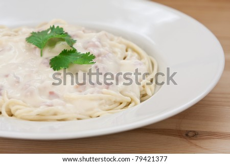 Spaghetti carbonara with bacon, cream and cheese sauce served on a white plate #79421377
