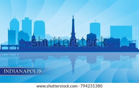 Indianapolis city skyline silhouette background, vector illustration