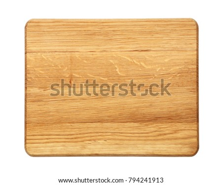 Close up of one small rectangle shaped yellow and brown new oak wood cutting board isolated on white background #794241913