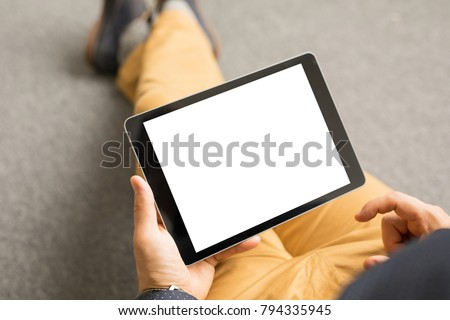 Template and mockup for tablet app design, horizontal screen orientation