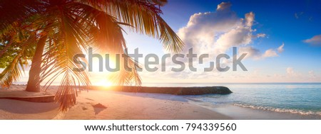 Vacation holiday travel concept recreation beach background wallpaper. Art Beautiful sunrise over the tropical beach web banner panorama or print.  #794339560